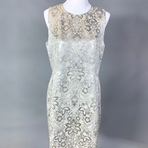 DKNY Silver Brocade Cocktail Dress